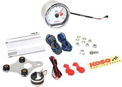 Koso TNT-01R Tachometer Chrome w/ White Face 10,000 RPM