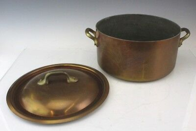 Antique Copper w Brass Double Handled Country Kitchen Dutch Oven Stock Pot Pan