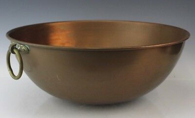 Antique Solid Copper Brass Ring Handle Country Kitchen Cooking Cookware Wok Pan