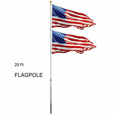 25ft Flagpole Aluminum Kit Sectional Halyard Pole Outdoor /w 2pcs American Flags
