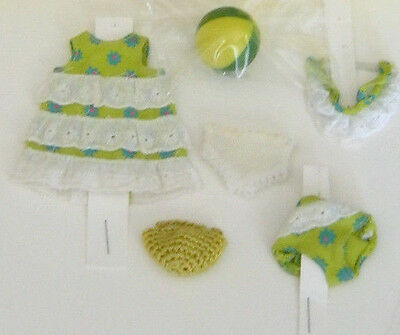1960s Barbie TUTTI DOLL Sea shore outfit # 3614 + yellow/green Japan ball.Nice!!