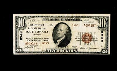 South Omaha, NE - $10 1929 Ty. 2 The Live Stock NB Ch. # 8949