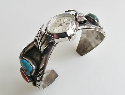 Classic navajo southwest 1960s sterling silver turquoise coral watch cuff