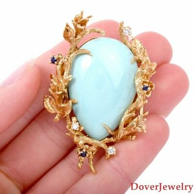 Vintage Diamond 34.37ct Turquoise 18K Gold Large Floral Pin 31.7 Grams NR