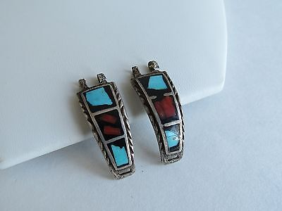 Native American Watch Bands VTG 1960s peitte jet turquoise coral sterling Navajo