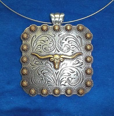 """Necklace Western Cowgirl  Chunky Choker Pendent Concho square Steer Head 2-3/8"""""""