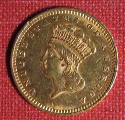 1862 U.s. Gold Dollar, Type 3 - Nice Obverse Details, Some Rim & Reverse Issues