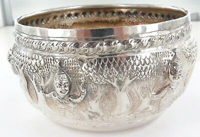 .stunning Thailand, Chiang Mai Silver Bowl, Handbeaten, Done In High Relief.