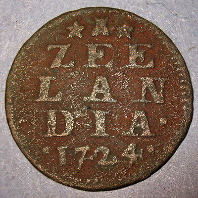 COA 1724 New York Penny Dutch Colonial  Zeeland Copper Cent, Colonial Penny