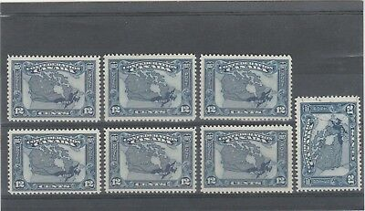 CANADA 1927 KGV 7 X SG270 12c BLUE CANADA MAP MINT AND 1 FINE USED STAMPS