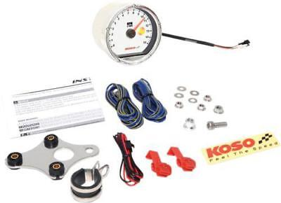 Koso TNT-01R Tachometer Chrome w/ White Face 15,000 RPM