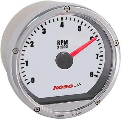 Koso TNT-01R Tachometer Chrome w/ White Face 8,000 RPM