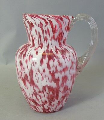 Fine Antique 19th C. American Art Glass Pitcher  c. 1880s   Cranberry Splatter