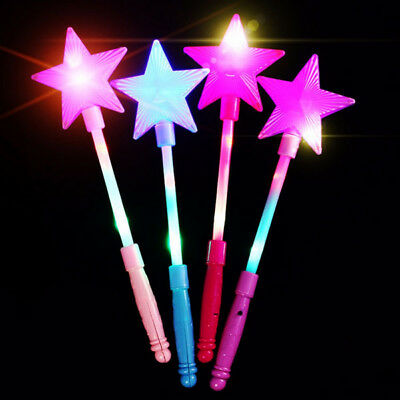 Portable LED Flashing Magic stick Wand Five-pointed Star Fairy Wand Kid Girl Toy