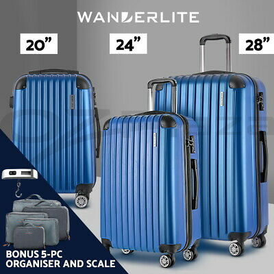 Wanderlite 3pc Luggage Sets Suitcase Set TSA Scale Storage Organiser Blue