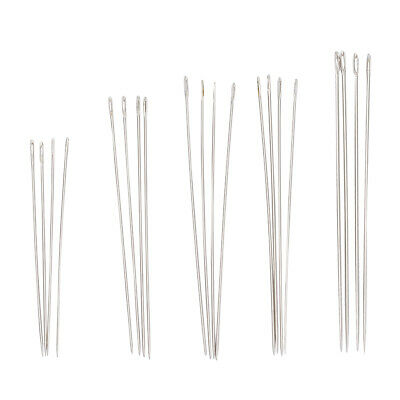 10 Bags Iron Beading Darning Sewing Needles Platinum Color Size 5-12 25pcs/bag