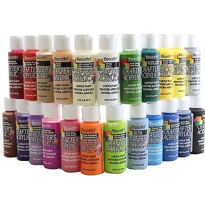 DecoArt Crafters Acrylic Paint 59ml Assorted Colours acrylic pots 2oz paint