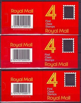 QE II GB 3 BOOKLETS x 4 1st CLASS STAMPS 2x18p 1x 19p MNH VERY LOW SHIPPING