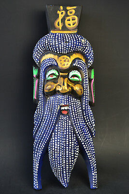 Fine Collectible Old Wood Carved Warrior Mask Colored Drawing Exquisite Statue