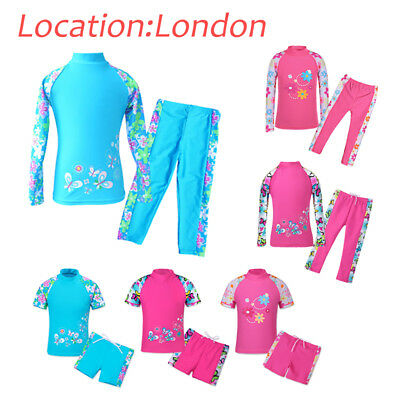 UK Warehouse Girls UPF 50+ Sun Safe Swimming Costume Bath Sport Surfing Swimsuit
