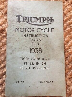 Vintage Motorbike Instruction Book Triumph Motorcycles 1938 Tiger etc
