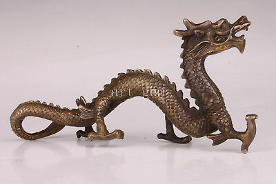 Old China Lifelike Bronze Statue Flying Dragon Vintage Collectable