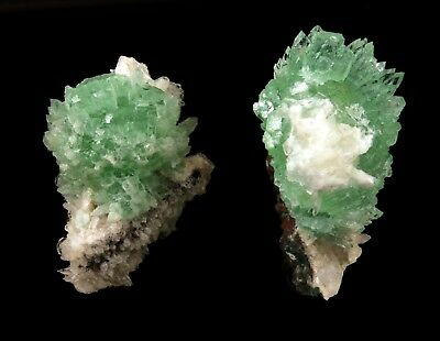 Apophyllite Green Crystal With Stilbite (02 Pieces) # 1898