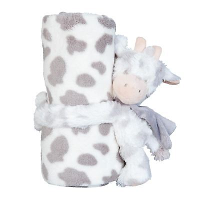 Present Baby Shower Party Spots Cow Soft Toy Faux Fur Cream Beige Throw Blanket