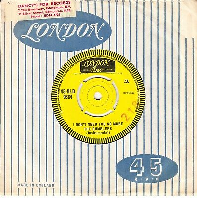 The Rumblers Demo *i Don't Need You No More/ Boss* 1963 Uk London  Surf  Beat