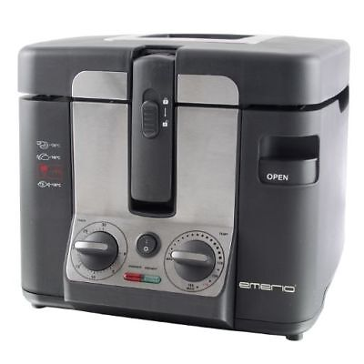 Emerio Cool-Touch Friteuse 2,5 L Emaille-Behälter 2800W Timer Fritöse Frittöse