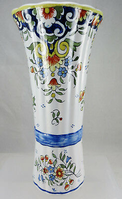 "Decor Rouen Fait Main Faience 8.25"" Vase"
