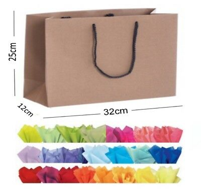 Brown Kraft Recycled Landscape Boutique Shop Gift Bags Rope Handle Bag & Tissue