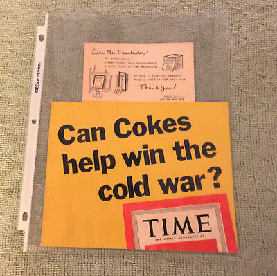 Vintage Unused 1950 Coca-Cola Time Newsstand Insert Can Cokes Win the Cold War?