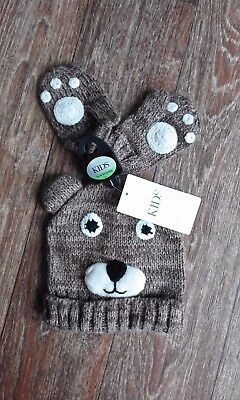 Boys Girls Brown Knitted Bear Hat & Mittens Set - Age 18-36 Mths - M&S - BNWT !