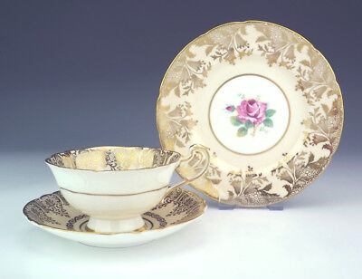 Vintage Paragon China - Rose & Gilt Decorated Cup, Saucer & Tea Plate Trio