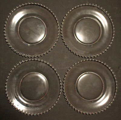 4 Vintage Imperial Candlewick 10 1/2 Inch Dinner Plates