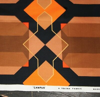Vintage 'CAMPUS' A TEXTRA FABRIC 1970's Geometric Textile length....