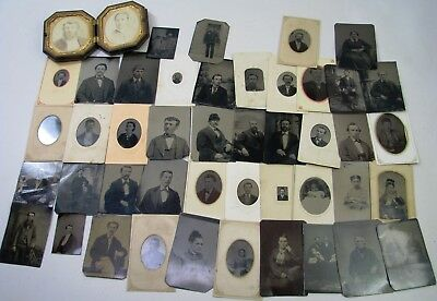 Lot Collection Of 45 Antique Tintype Photos Gutta Percha Case + More