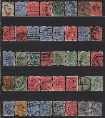 Great Britain KEVII Perfin Letter S Collection of All Different Designs