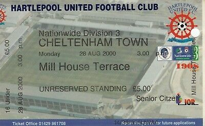 Ticket - Hartlepool United v Cheltenham Town 28.08.00