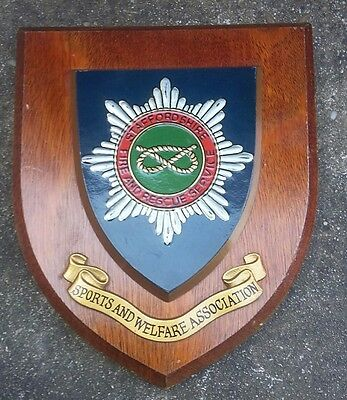 A Vintage Staffordshire Fire & Rescue Sports & Welfare Wooden Shield Plaque