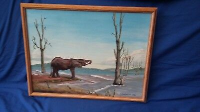 Large Original Oil Painting of an Elephant Oak Frame on Canvas