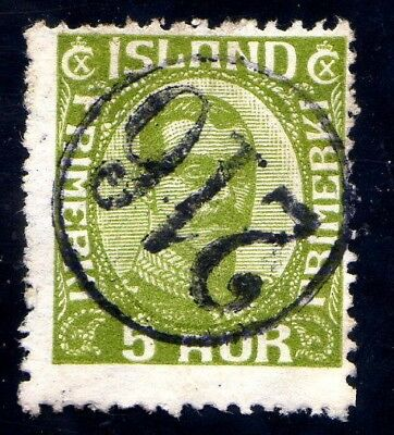 Iceland numeral canc. 216 on fac.128  very rare!! Beauty!!