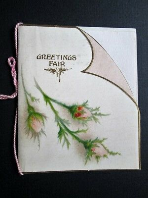 GREETINGS FAIR, CHRISTMAS, ROSE BUDS - EDWARDIAN CARD BY RAPHAEL TUCK (1900s)