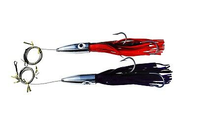 14 in. Jetted Head Trolling Lures - Cable Rigged for Wahoo Fishing (2 Pack)