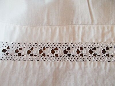 Vintage~Antique White Cotton Sheet With Hand Crochet Lace Inset~French Day Bed