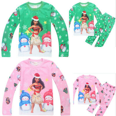 Kids Boys Girls Moana Long Sleeve Top Pants Set Nightwear Sleepwear Pajamas