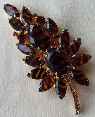 Vintage JULIANA DeLizza & Elster D&E Tiger Stripe Topaz Floral Brooch (Large)