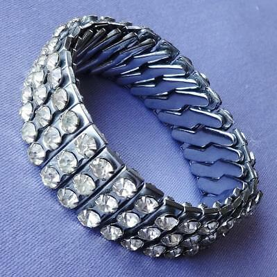 Vintage Diamante Stone Triple-Row Expandable Bracelet