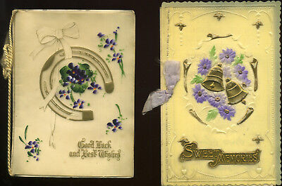 Vintage CELLULOID Birthday Cards x2 EMBOSSED Flowers BELLS Horseshoe